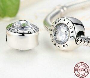 Original-925-Sterl-Silber-Charm-Bead-Liebe-besteht-ewig-schoen-fuer-Pandora-Armband