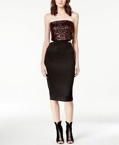 e7899a90bf3 Image is loading Rachel-Roy-Strapless-Sequined-Cutout-Midi-Dress-Black-