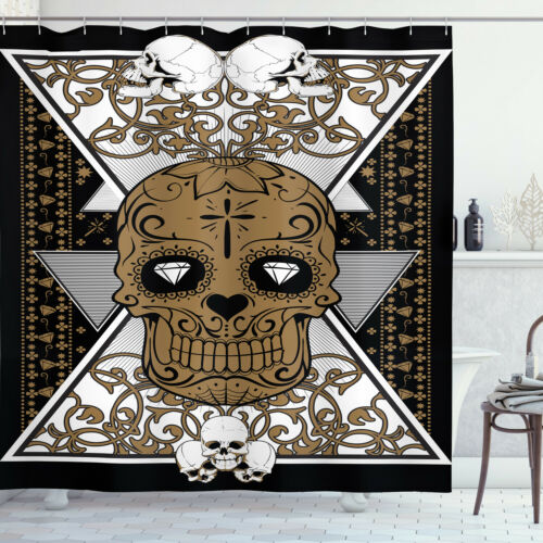 Details about  /Tattoo Shower Curtain Skull and Flowers Tattoo Print for Bathroom