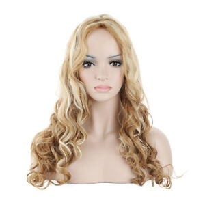EG  Women s Long Blonde Curly Wavy Full Wig Natural Hair Cosplay ... 1f72823f9f
