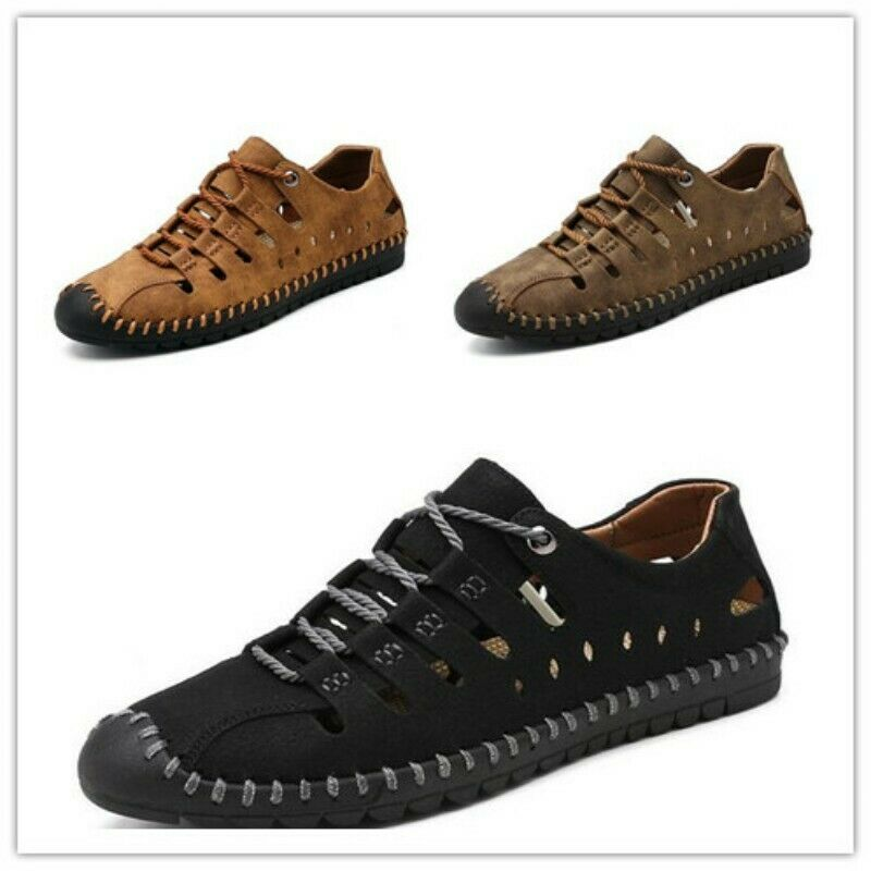 Fashion Men Suede Leather Round Tope Lace Up Hollow Out Flats Summer Casual shoes
