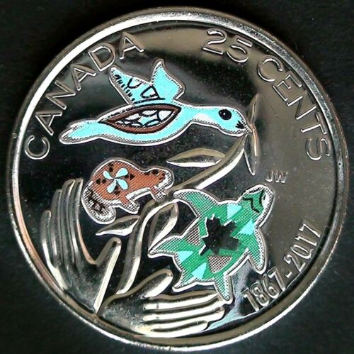 2017 Canada Hope For a Greener Future Colourized 25 Cents UNC Gem BU!!