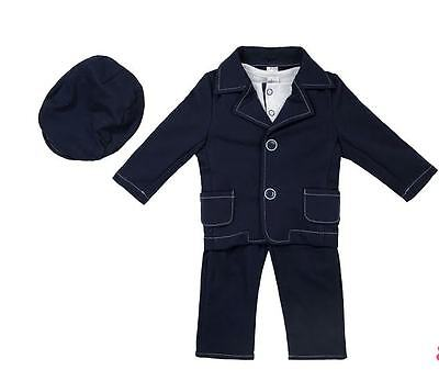 Baby Boys 4 Piece Navy Blue Christening Wedding Birthday Special Occassion Suit To Be Renowned Both At Home And Abroad For Exquisite Workmanship, Skillful Knitting And Elegant Design