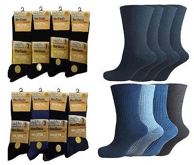 Comfort Soft Top 100/% Cotton Diabetic 12 pairsMens Non Elastic Socks 6-11