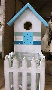 Strandhaus karibik holz  Maritimes Windlicht Kerzenhalter Strandhaus Holz Glas blau weiß ...
