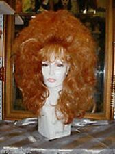 BIG WIGS DRAG QUEEN HOT RED TEASED FULL LONG SOFT WAVY CURLS BANGS VOLUME THICK