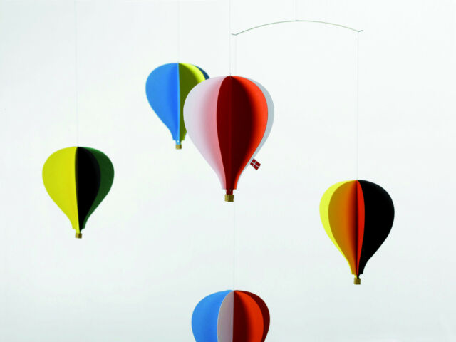 Flensted Hot Air Balloon Five 5 Modern Hanging Baby Mobile Nursery Decor Danish