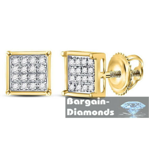 Details about  /Unisex Yellow 925 Sterling Silver Square Diamond Screwback Earrings .10 ct