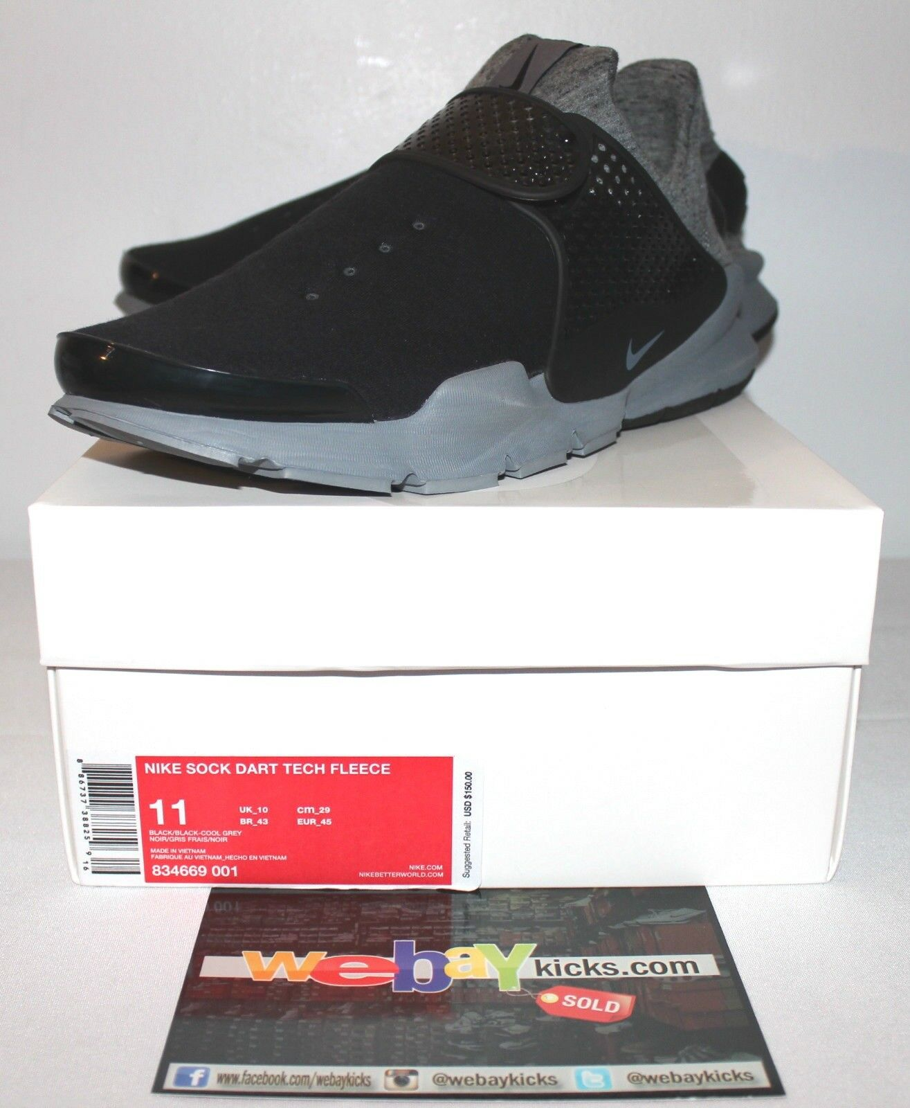 Nike Air Sock Dart Fleece Black Grey Gray Sneakers Men's Size 11 New