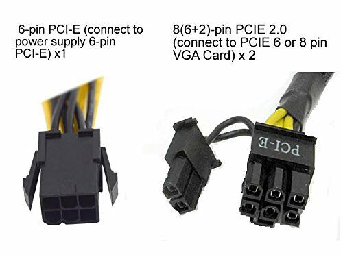 """6+2 PCIE 6-Pin Y Splitter to Dual PCI-E 8-Pin AYA 8/"""" Converter Cable 8 Inch"""