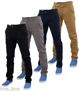 New Mens Firetrap Slim Fit Chinos Stretch Cotton Twill Trousers ...