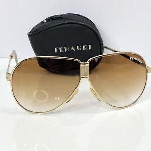 Details about Ferrari Vintage Sunglasses Fold Up Gold Aviator Leather Case