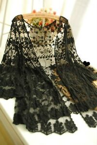 Ladies-Boho-Lace-Floral-Crochet-Chiffon-Cardigan-Jacket-Coat-Kimono-Shirt-Black