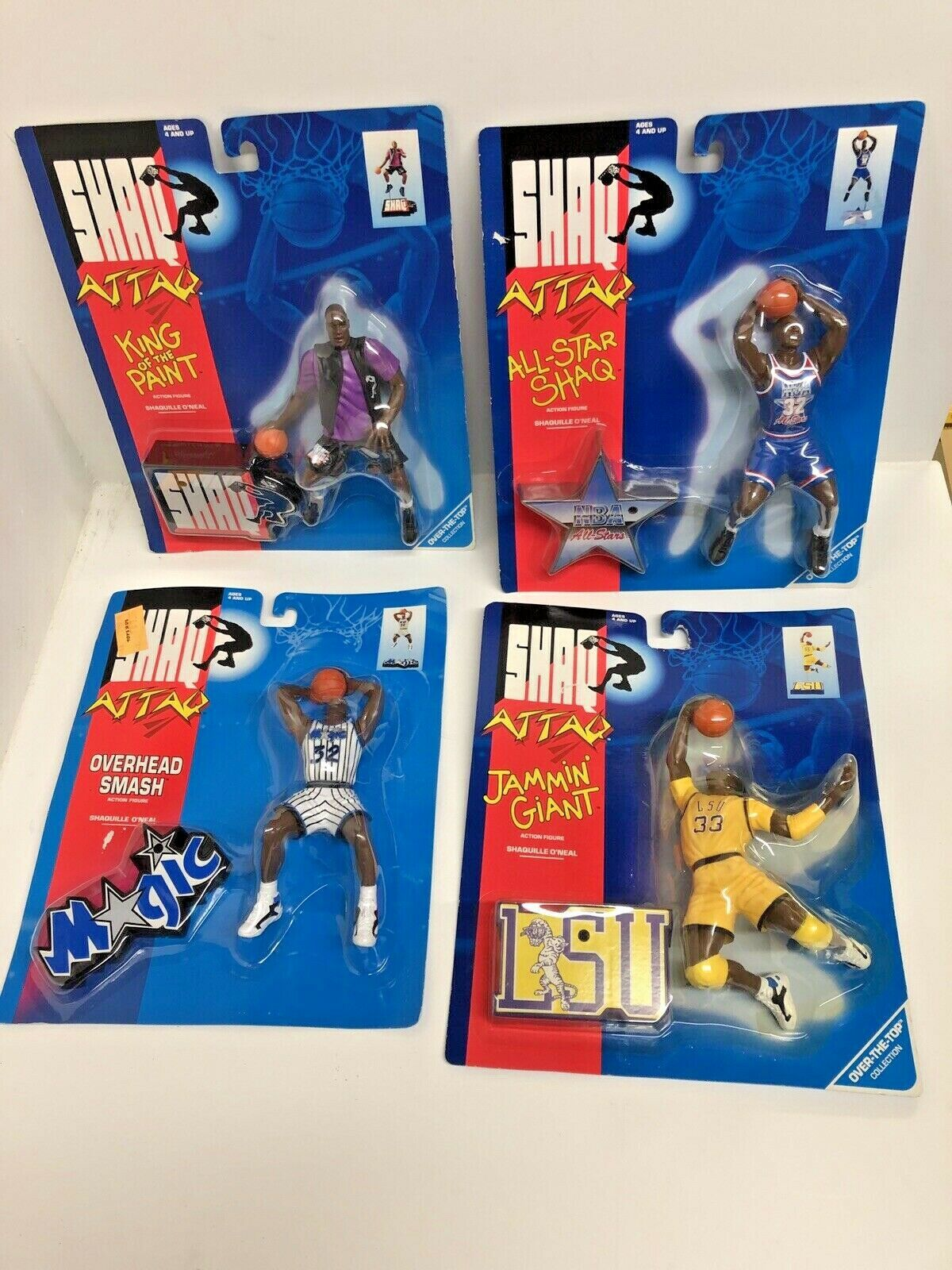 Shaquille O'Neal Orleo Magic LSU Set of 4 Shaq Attaq cifras In Packages T5
