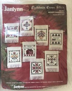 Vintage-1987-Janlynn-Christmas-Cross-Stitch-Kit-Banner-Ornaments-set-of-8-50-80