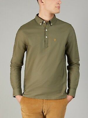 FARAH Mens Brewer Slim Fit Long Sleeve Shirt in MILITARY GREEN