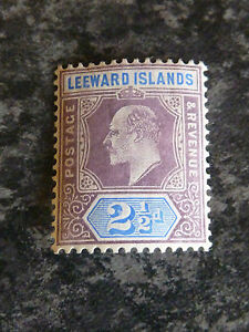 LEEWARD-ISLANDS-POSTAGE-REVENUE-STAMP-SG32-2-1-2D-LIGHTLY-MOUNTED-MINT