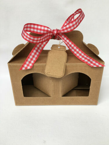 choice of gift tag and ribbon Pack of 6 Jam Jar Kraft Gift Box 2 window