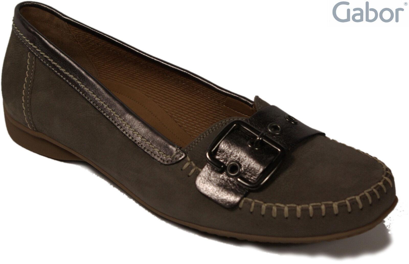 GABOR Schuhe (fumo) Mokassin Ballerinas Nubuk grau (fumo) Schuhe echt Leder G Weite NEU 06c847