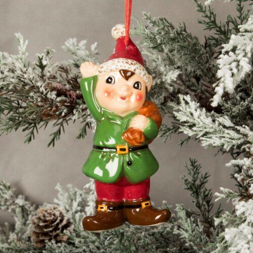 Ceramic Elf Hanging Christmas Tree Decoration XM3650