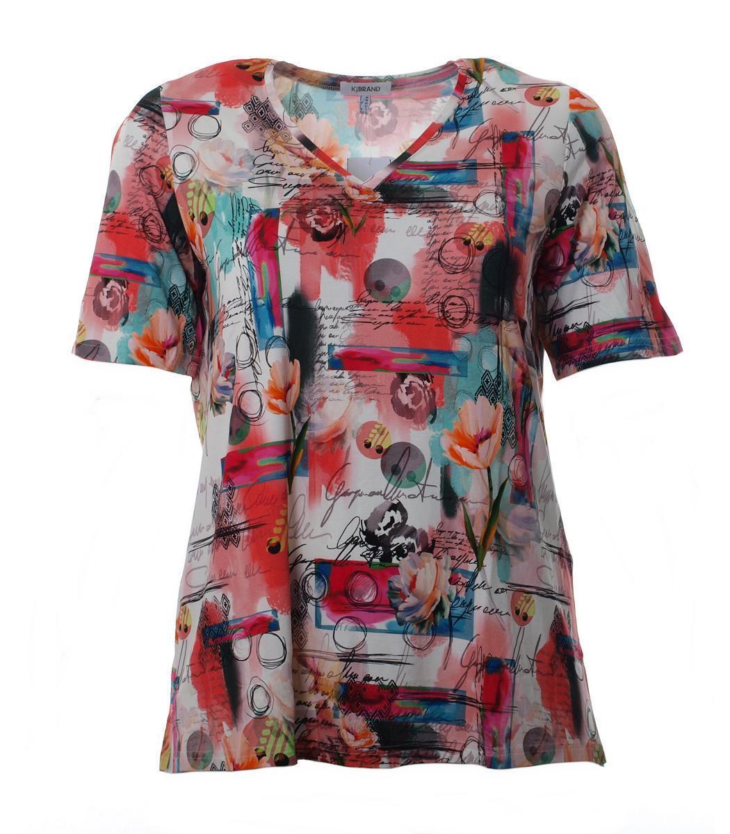 KjBrand Damen T-Shirt  mit V-Ausschnitt und Art-Design große Größen Bunt