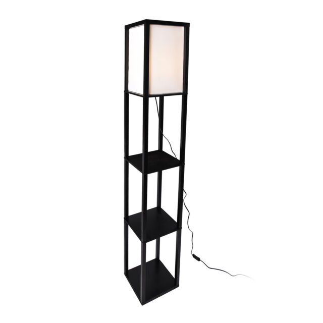 Wood Shelf Floor Lamp Fabric Shade Light Storage Living