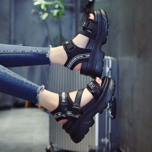 Women/'s Summer Chic Leisure Sport Wedge High Heel Thick-soled Sandals Shoes N745