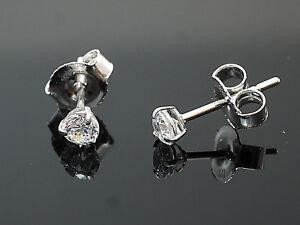 585 Weißgold Ohrstecker 3 mm Größe  3 Krappen mit Zirkonia Steinen 1 Paar