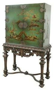 GORGEOUS-DECORATIVE-CHINOISERIE-CABINET-ON-STAND-Vintage-Antique