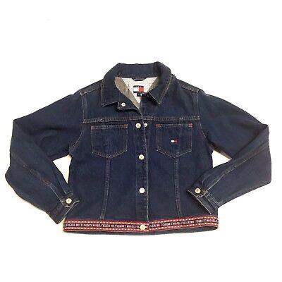 Vintage 90s WOMEN'S TOMMY HILFIGER L USA Flag Spell Out Denim Jean Jacket Blue | eBay