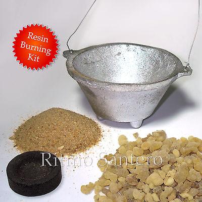 Starter Kit for Burning Resin Incense: Censer 2oz Frankincense 2 Charcoal Sand