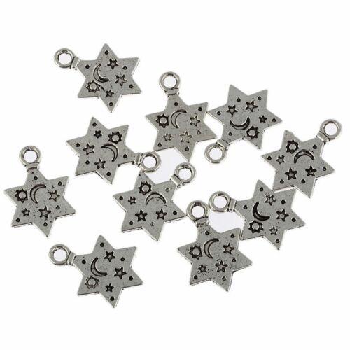 Star Moon Pattern Beads Tibetan Silver Charms Pendant DIY Bracelet 13*12mm 10pcs