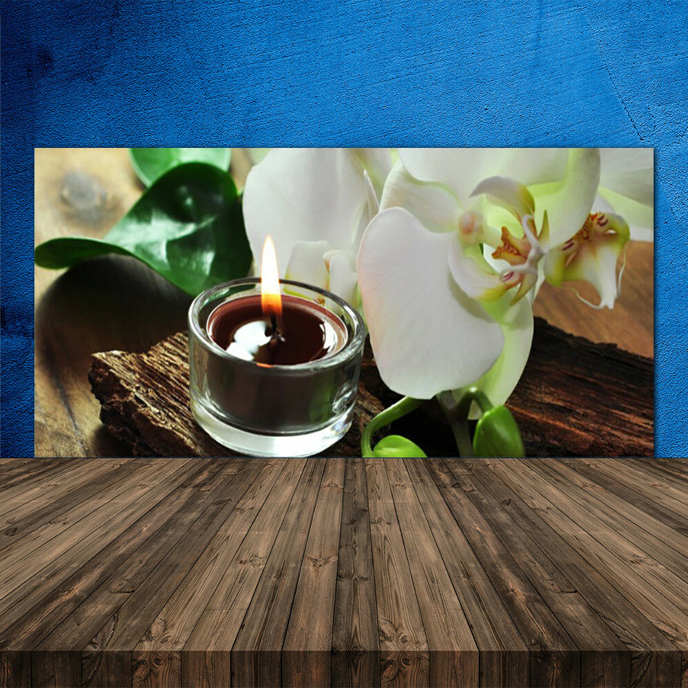 Crédence de cuisine en verre Panneau 120x60 Floral Bougie Fleur