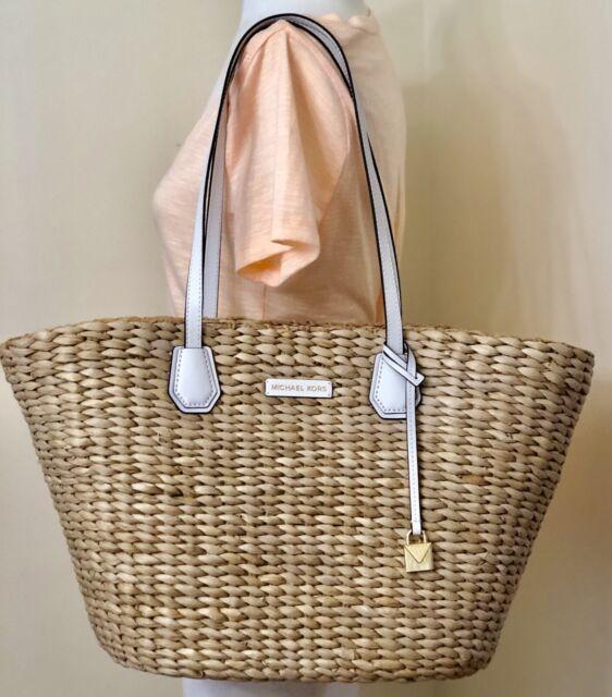 Michael Kors Malibu Large Woven Straw Natural White Tote Beach Bag