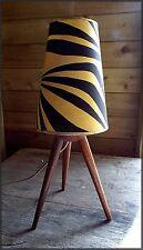 ORIGINAL VINTAGE RETRO MID-CENTURY FRENCH SPUTNIK TRIPOD 1950'S LAMP ZEBRA SHADE