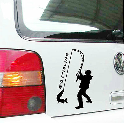 1pc auto decorative vinyl fisherman car sticker funny go fishing decal emblem