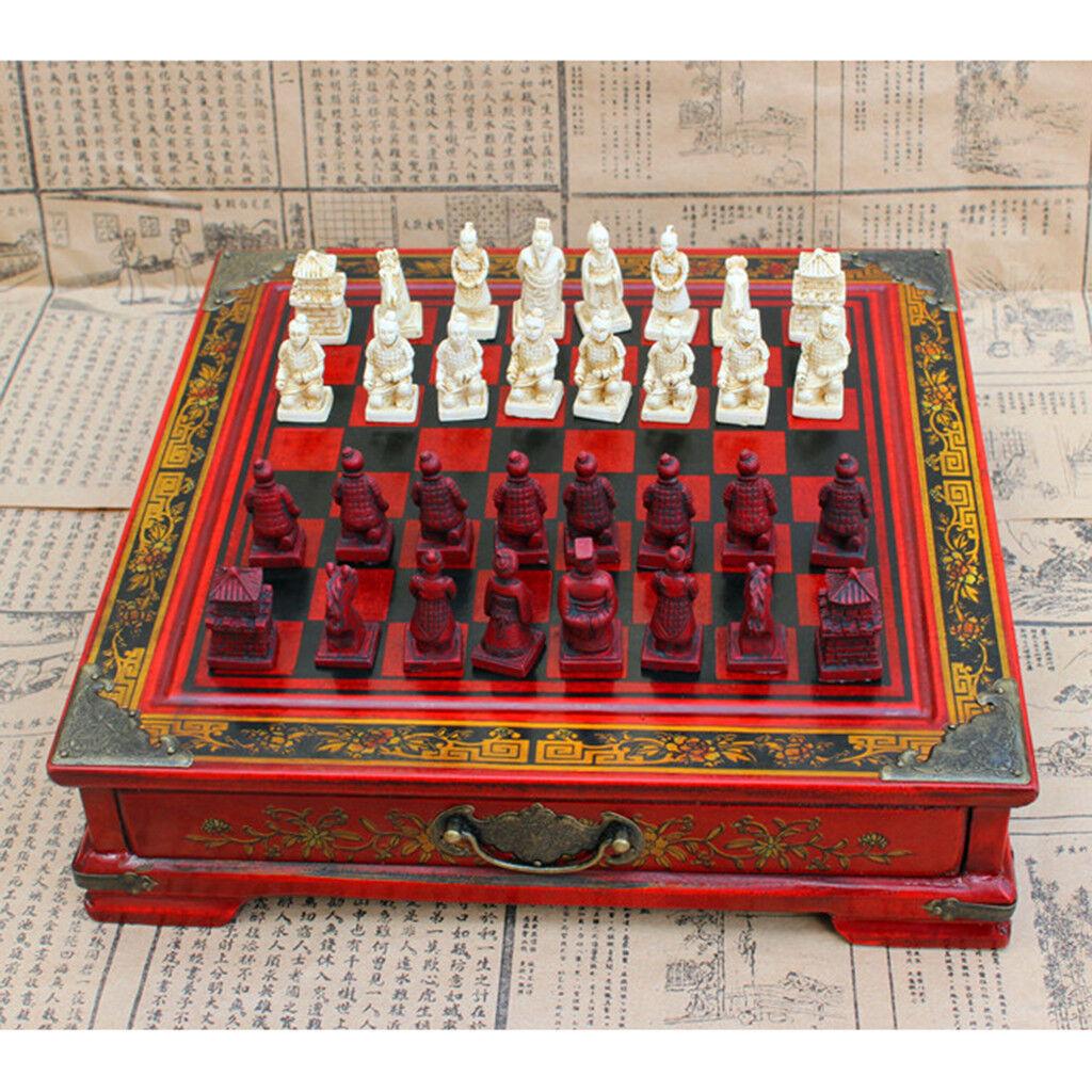 Antique Chess Set Wooden Chess Board Chess Pieces Set Retro Entertainment