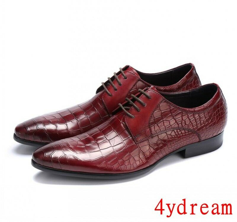 Mens crocodile pattern dress shoes leather lace-up oxfords breathable brogues sz