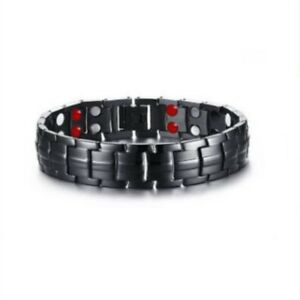 4-in-1-Men-Titanium-Magnetic-Energy-Germanium-Armband-Bracelet-Health-Bio-Black