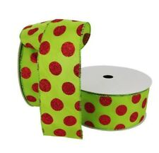 """50 Yard Roll 150 Ft Lime Green w/ Red Polka Dot Glitter Wired Ribbon 2.5"""" Wide"""