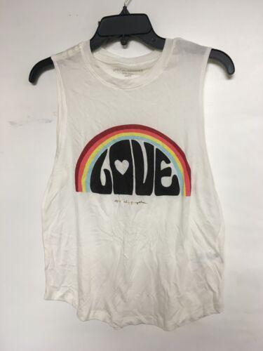 Spiritual Gangster Love Rainbow Graphic mucle new Tank Top tee offWhite yoga art