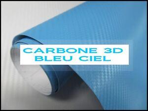 FILM VINYLE CARBONE 3D BLEU CIEL  EN 152 CM Raclette