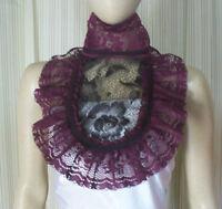 Gothic Lolita Black Lace Jabot Dark Mori Victorian Steampunk Dress Collar