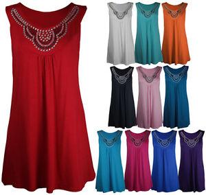 Neuf-Femme-Long-perle-T-Shirt-sans-Manches-Clou-Debardeur-Grande-Taille-12-28