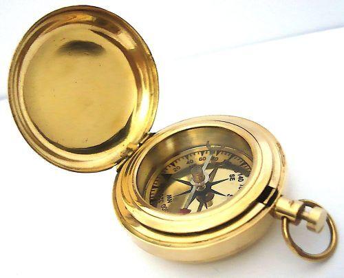 laiton bouton-poussoir DIRECTION Boussole Boussole de poche