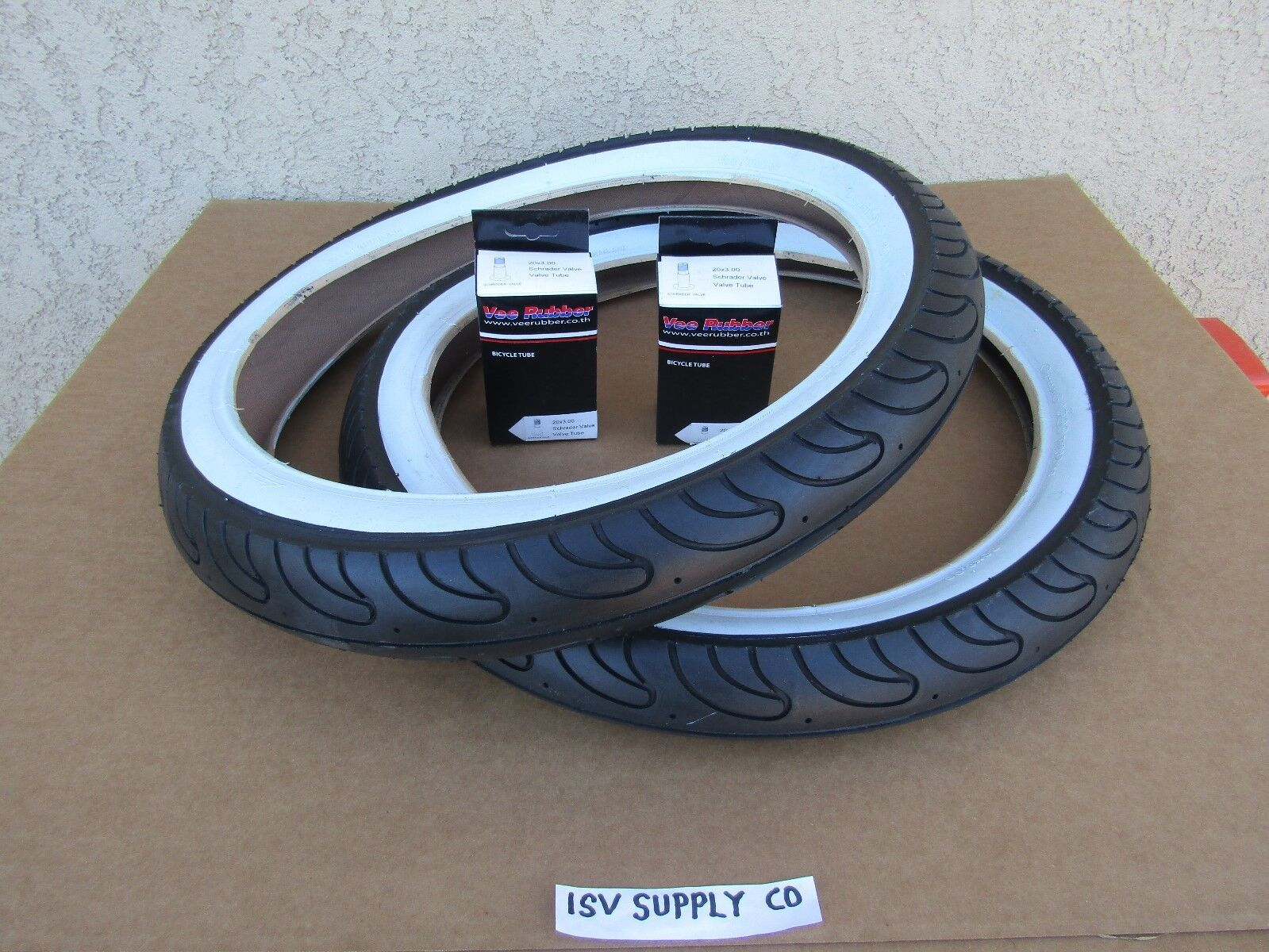 [2] NEW  20'' x 3.00 WHITE-WALL BICYCLE TIRES WITH [2] TUBES FOR SCHOPPER BIKES