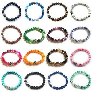 32-Styles-Mix-Handmade-Buddha-Natural-Gemstone-8MM-Round-Beads-Stretch-Bracelet