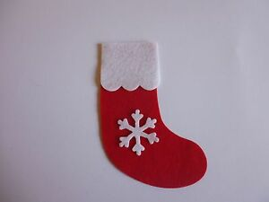 Making Christmas Stocking.Details About Felt Lge Die Cut Christmas Stocking X 4 Red White Applique Card Making Sewing