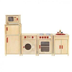 Details about Viga Kids Wooden Kitchen Set - Fridge/Microwave/Oven/Washing  Machine AND Sink