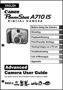 canon powershot a710 is digital camera user guide instruction manual rh ebay com Canon Camera User Manual Canon Camera User Manual